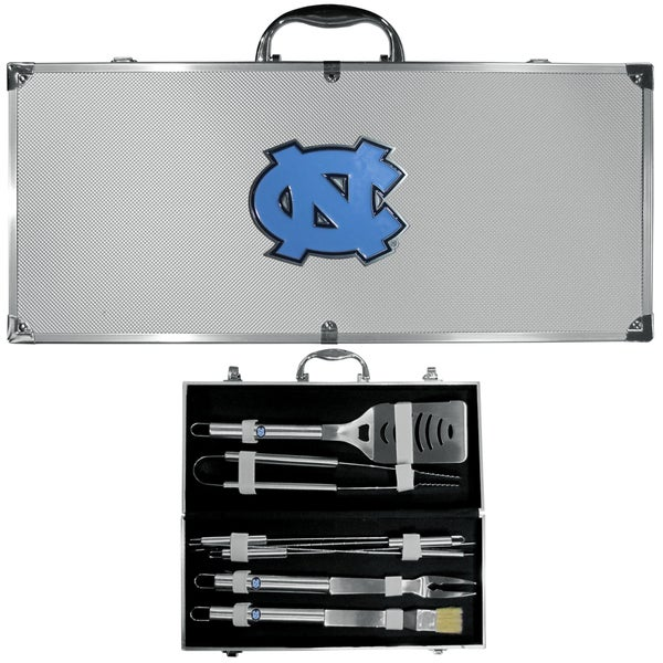 Collegiate North Carolina Tar Heels Stainless Steel 8-piece Barbecue Set With Metal Case