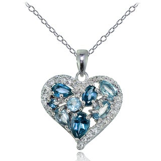 Glitzy Rocks Sterling Silver London Blue, Swiss Blue, and White Topaz Cluster Tonal Heart Necklace