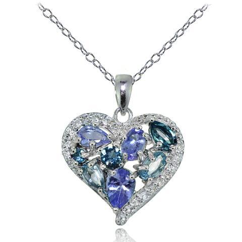 Glitzy Rocks Sterling Silver Tanzanite, Aquamarine, London Blue and White Topaz Cluster Tonal Heart Necklace