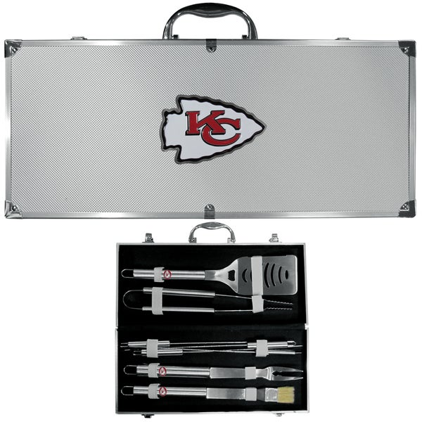 NFL Kansas City Chiefs Multicolored Stainless Steel 8-piece Barbecue Set w/Metal Case