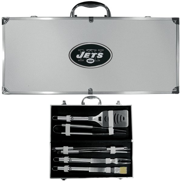 NFL New York Jets Stainless Steel 8-piece Barbecue Set With Metal Case