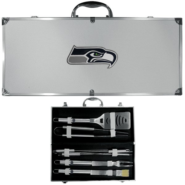 NFL Seattle Seahawks Stainless Steel 8-piece Barbecue Set With Metal Case