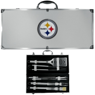 NFL Pittsburgh Steelers Stainless Steel 8-piece Barbecue Set with Metal Case