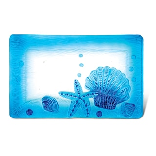 Puzzled Blue 12-inch Rectangle Glass Decor Plate