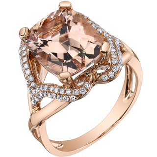 Oravo 14k Rose Gold 5 1/4ct TGW Radiant-cut Morganite and 2/5ct TDW Diamond Ring (H-I, SI1-SI2)