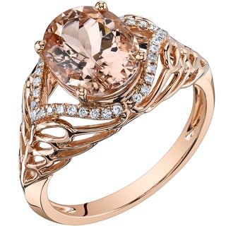 Oravo 14k Rose Gold 2 1/2ct TGW Oval Morganite and 1/6ct TDW Diamond Ring (H-I, SI1-SI2)