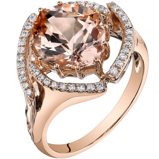 Oravo 14k Rose Gold 3 3/4ct TGW Morganite and 1/5ct TDW Diamond Ring (H-I, SI1-SI2)