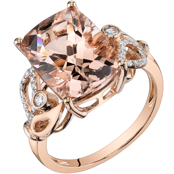 30c267ff6dc82 Oravo 14k Rose Gold 7ct TGW Radiant-cut Morganite and 1/5ct TDW Diamond  Ring (H-I, SI1-SI2)