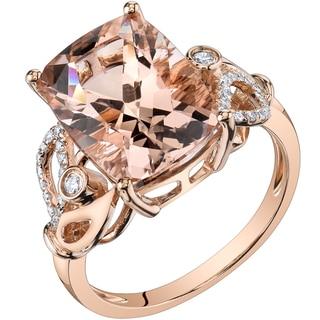 Oravo 14k Rose Gold 7ct TGW Radiant Cut Morganite And 1 5ct TDW Diamond Ring H I SI1 SI2