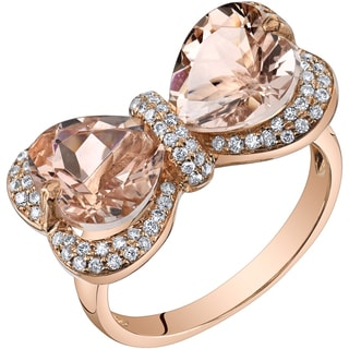 Oravo 14k Rose Gold 4 1 4ct TGW Heart Shape Morganite And 3 8ct TDW Diamond Ring H I SI1 SI2