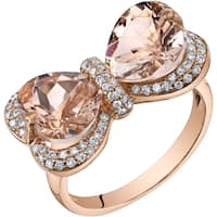 Oravo 14k Rose Gold 4 1/4ct TGW Heart-shape Morganite and 3/8ct TDW Diamond Ring (H-I, SI1-SI2)