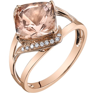 Oravo 14k Rose Gold 3ct TGW Cushion-cut Morganite and Diamond Accent Ring