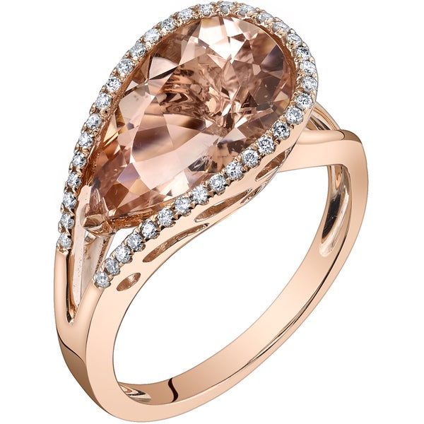 Oravo 14k Rose Gold 4 1/4ct TGW Pear-cut Morganite and 1/6ct TDW Diamond Ring (H-I, SI1-SI2)
