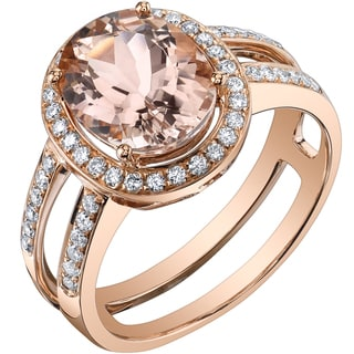 Oravo 14k Rose Gold 2 1/2ct TGW Oval Morganite and 2/5ct TDW Diamond Ring (H-I, SI1-SI2)
