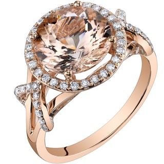 Oravo 14k Rose Gold 3 1/4ct TGW Round-cut Morganite and 1/3ct TDW Diamond Ring (H-I, SI1-SI2)