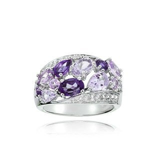Glitzy Rocks Sterling Silver Amethyst and White Topaz Cluster Tonal Ring