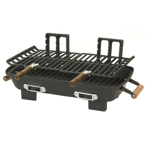 "Kay Home 30052 10"" X 18"" Cast Iron Charcoal Hibachi Grill"