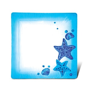 Puzzled Blue Glass 10.5-inch Square Starfish Plate