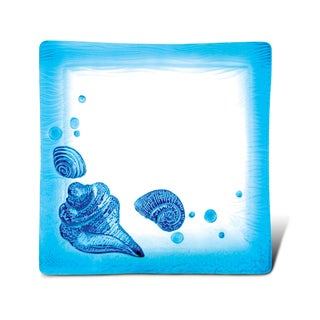 Blue Glass 10.5-inch Square Assorted Beach Shells Decor Plate