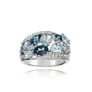 Glitzy Rocks Sterling Silver London Blue, Swis Blue and White Topaz Cluster Tonal Ring