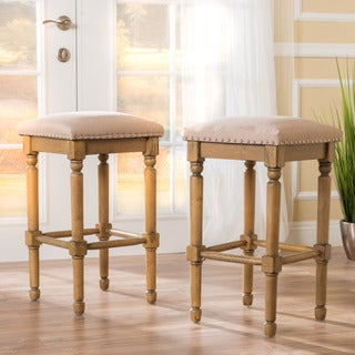 Osvald 31-inch Studded Fabric Bar Stool (Set of 2) by Christopher Knight Home