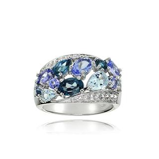 Glitzy Rocks Sterling Silver Tanzanite, Aquamarine, London Blue and White Topaz Cluster Tonal Ring