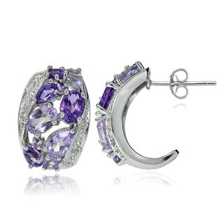 Glitzy Rocks Sterling Silver Amethyst and White Topaz Cluster Tonal Earrings