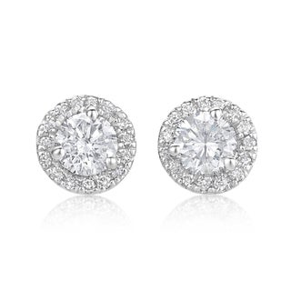 SummerRose, 14k White Gold Diamond Martini Halo Stud Earrings 5/8ct TDW