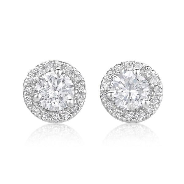 fd5f1146b Shop SummerRose, 14k White Gold Diamond Martini Halo Stud Earrings 5 ...