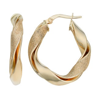 Fremada Italian 14k Yellow Gold High POlish and Textured Finish Twisted Oval Hoop Earrings
