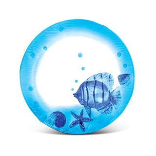 Puzzled Glass Decor Blue Fish 11-inch Circle Plate