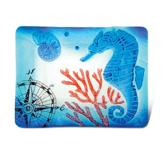 Blue Glass 12-inch Rectangle Seahorse Plate