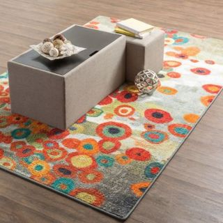 The Curated Nomad Mountain Spirit Abstract Floral Area Rug - Grey/Red/Orange - 2' x 5'