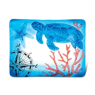 Puzzled Glass Decor Blue Sea Turtle 12-inch Rectangle Plate