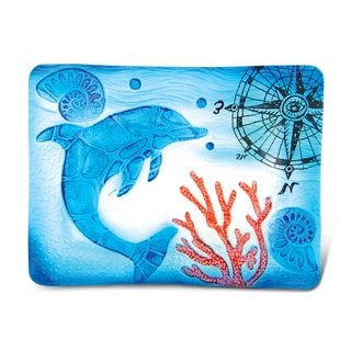 Puzzled Glass Decor Blue Dolphin 12-inch Rectangle Plate