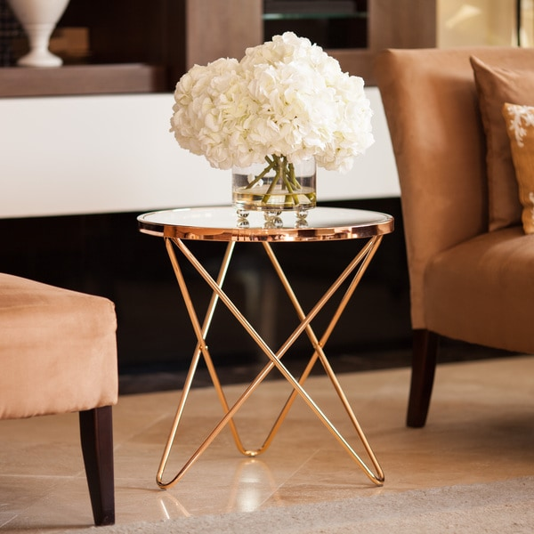 Danya B Tetra Clear Glasstop Round End Table With Rose