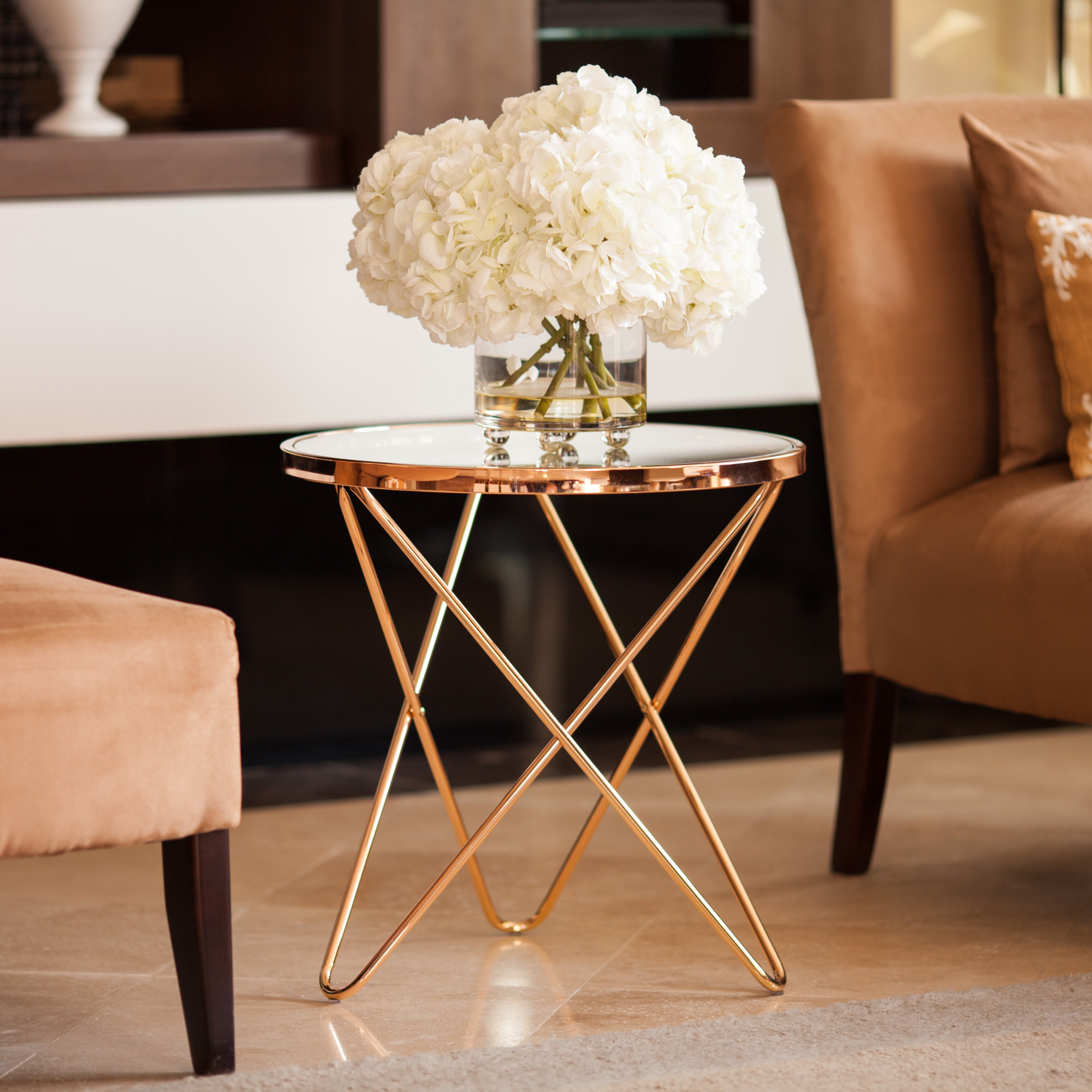 The Gray Barn Brees Rose Gold and Glass Top End Table