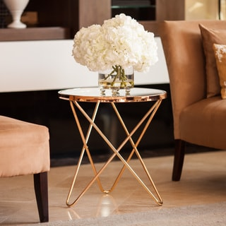 Danya B Tetra Clear Glasstop Round End Table with Rose Gold Metal Frame