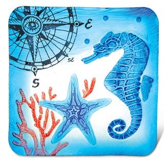 Puzzled Glass Decor Blue Seahorse 12-inch Square Plate
