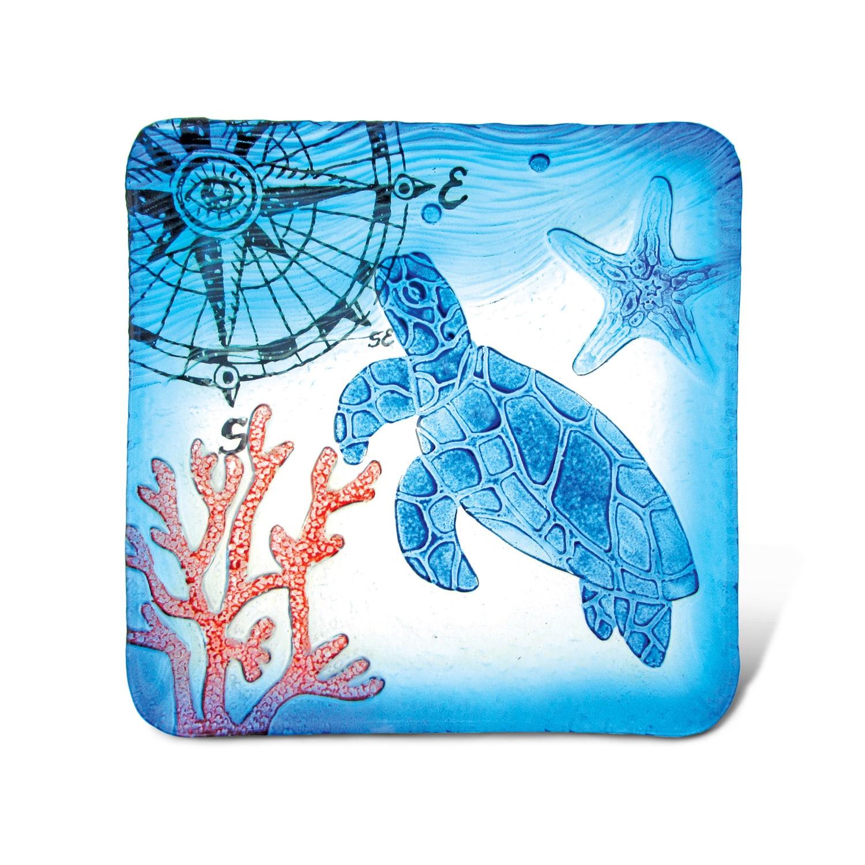 Puzzled Blue Glass 12-inch Square Sea Turtle Decor Plate ...