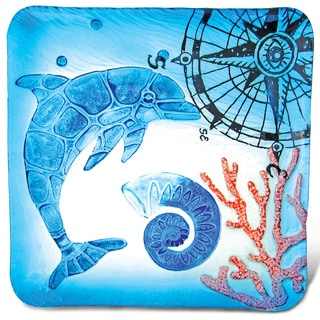 Blue Glass 12-inch Square Dolphin Plate