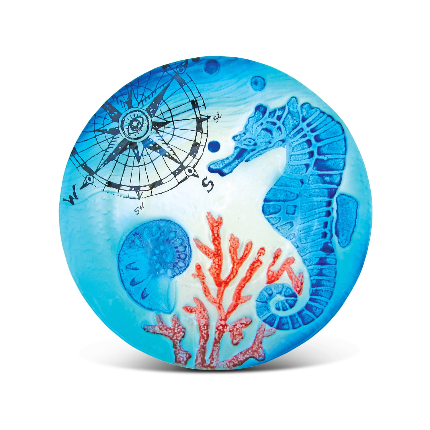 Puzzled Blue Glass 8-inch Circle Seahorse Plate Decor (Mu...