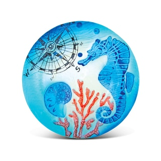 Blue Glass 8-inch Circle Seahorse Plate Decor