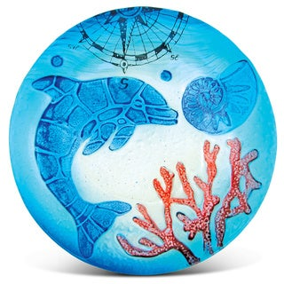 Blue Glass 8-inch Circle Dolphin Plate Decor