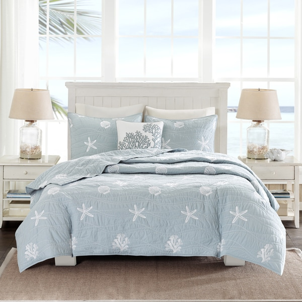 Harbor House Seaside Blue Cotton Coverlet Set