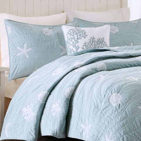 Harbor House Seaside Blue Cotton Coverlet Set