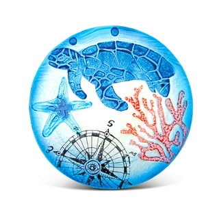 Puzzled Glass Decor Blue Sea Turtle 8-inch Circle Plate