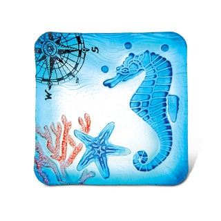 Blue Glass 8-inch Square Seahorse Decor Plate