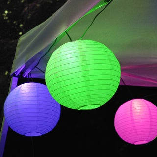 Electric String Lights with Paper Lanterns - Multi Color (Set of 10)