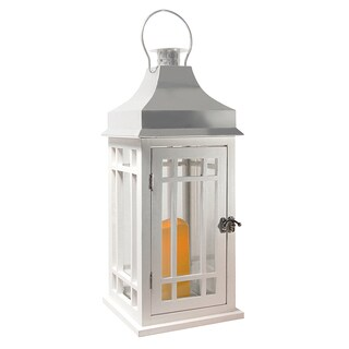 Wooden Lantern with LED Candle - White with Chrome Roof